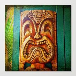 Crazy, fun, fierce, Hawaiian retro wood carving tiki face close-up photo Canvas Print