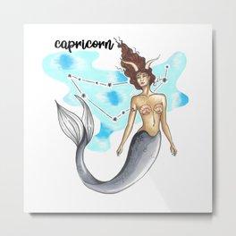Capricorn Mermaid Metal Print