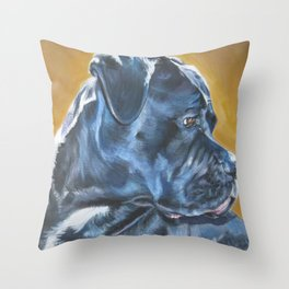 A Cane Corso dog portrait from an original painting by L.A.Shepard Throw Pillow