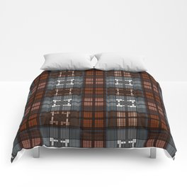 Dark black and blue plaid checkered Scandinavian design Comforters