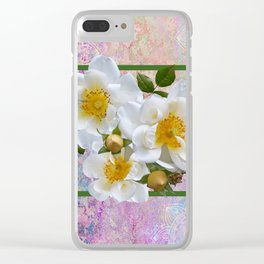 White Flowers with Inset Clear iPhone Case
