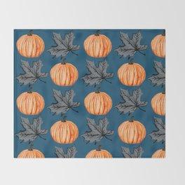 Teal Pumpkin Fall Leaf Throw Blanket
