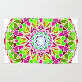 Ethnic gradient mandala on grunge Rug