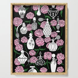 Perfume and Peonies Black and White Serving Tray