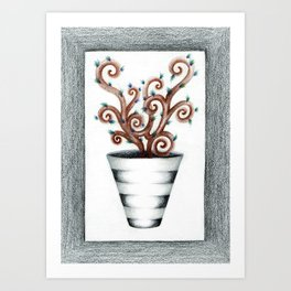 Quirky Spiral Plant in Striped Vase Drawing Art Print