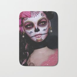 Mexican Hibiscus Day of the Dead Skull Bath Mat