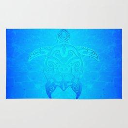 Ocean Blue Tribal Turtle Rug