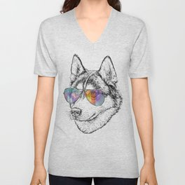 Husky Dog Graphic Art Print. Husky in glasses Unisex V-Neck