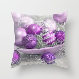 Fancy pink christmas Throw Pillow