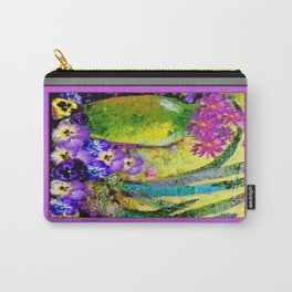 Chartreuse-Violet art Vase Pansies Floral Painting Carry-All Pouch