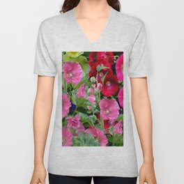 DECORATIVE PINK & RED GARDEN HOLLYHOCKS Unisex V-Neck
