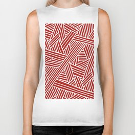 Abstract Navy Red & White Lines and Triangles Pattern Biker Tank