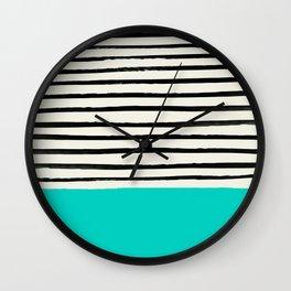 Aqua & Stripes Wall Clock