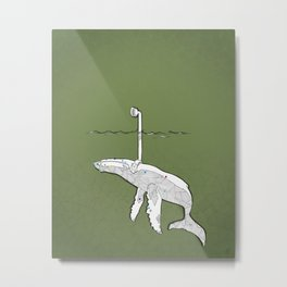 whale watching (olive) Metal Print