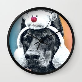 Dog in a Reindeer Hat Wall Clock