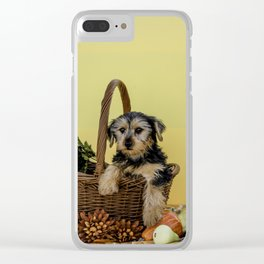 Hooper the Yorkie in his Thanksgiving Basket Clear iPhone Case