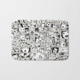 Ahegao Hentai Girls Collage B&W Comic Panels Bath Mat