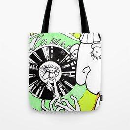 Girl, Vinil and Flower Tote Bag
