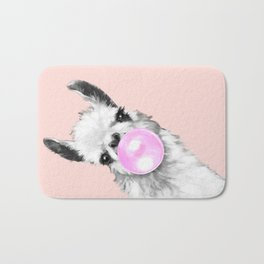 Bubble Gum Black and White Sneaky Llama in Pink Bath Mat