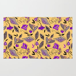Flower yellow  purple Rug