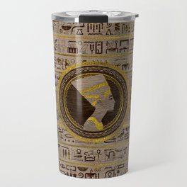 Pyrographed Golden Nefertiti on wood Travel Mug