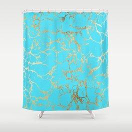 Modern Aqua Elegant Faux Gold Foil Marble Pattern Shower Curtain