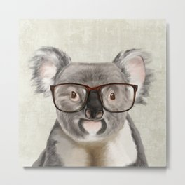 A baby koala with glasses on a rustic background Metal Print