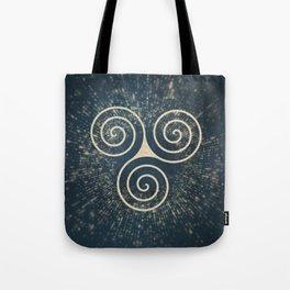 Triskelion Golden Three Spiral Celtic Symbol Tote Bag