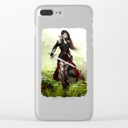 Lady knight - Warrior girl with sword concept art Clear iPhone Case