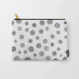 Hand Drawn Buttons Black and White Carry-All Pouch
