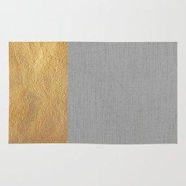 Color Blocked Gold & Grey Rug