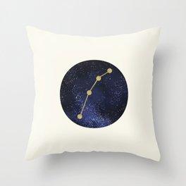 Golden Aries Zodiac Sign Constellation Galaxy Art Throw Pillow
