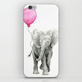 Elephant Watercolor Pink Balloon Baby Animal Nursery Girl Art iPhone Skin