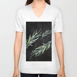 Eucalyptus leaves on chalkboard Unisex V-Neck