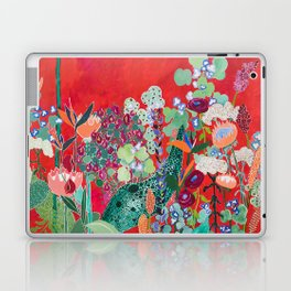 Floral Jungle on Red with Proteas, Eucalyptus and Birds of Paradise Laptop & iPad Skin