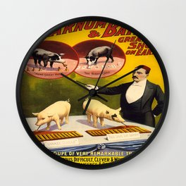 Vintage poster - Trained pigs Wall Clock
