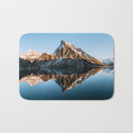 Calm Mountain Lake at Sunset - Landscape Photography Bath Mat