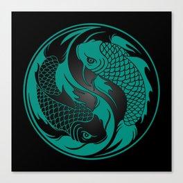 Teal Blue and Black Yin Yang Koi Fish Canvas Print