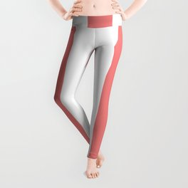 Light coral pink - solid color - white vertical lines pattern Leggings