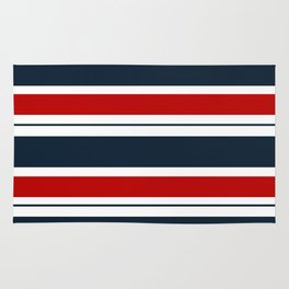Red, White, and Blue Horizontal Striped Rug