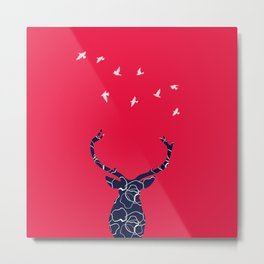 cerf bleu et rouge Metal Print