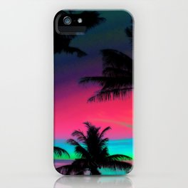 Deep Pink Palm Tree Sunset iPhone Case