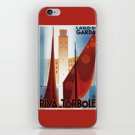 Art deco vintage Italian travel Riva Torbole Lake Garda iPhone Skin