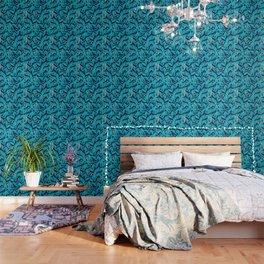 Blue Banana Leaf Pattern Wallpaper