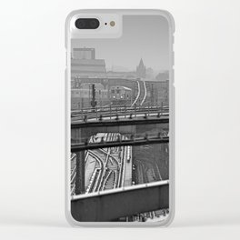Tales of a Subway Train in Black and White Clear iPhone Case