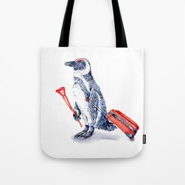 Penguin with a Suitcase and a Vuvuzela Tote Bag