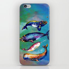 Whale Pyramid #3 - Watercolor Whales iPhone Skin