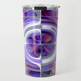 Abstract Morning Glory Fish Eye Collage Travel Mug