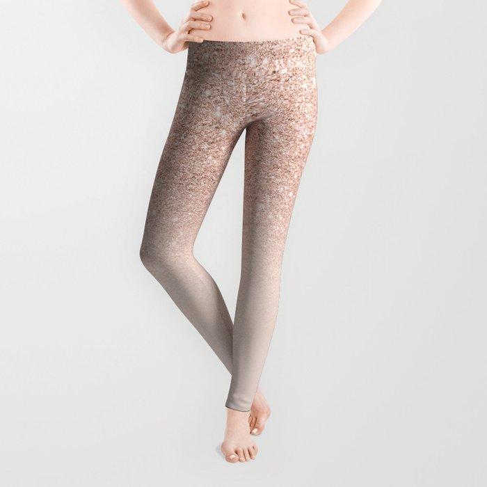 Rose gold faux glitter pink ombre color block Leggings