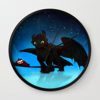 toothless Wall Clocks featuring Toothless by sevillaseas